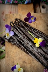 the vanilla pods on kitchen table