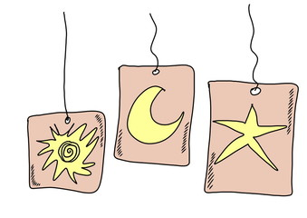 doodle tag stars, sun, moon