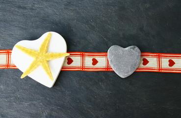 étoile de mer,coeur bois,sur ardoise