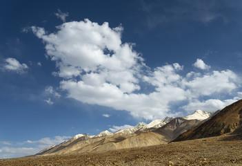 Snowcapped mountain ridge