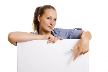woman holding a banner ad