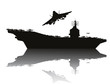 Aircraft carrier and flying aircraft detailed silhouettes - 68736729