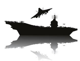 Aircraft carrier and flying aircraft detailed silhouettes