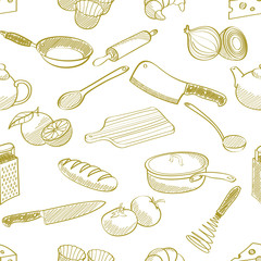 seamless kitchen stuff pattern