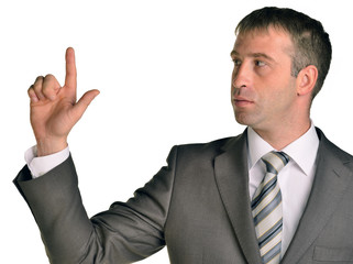 Business man pointing up finger blank copy space