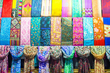 Colorful turkish fabric samples on Grand bazaar