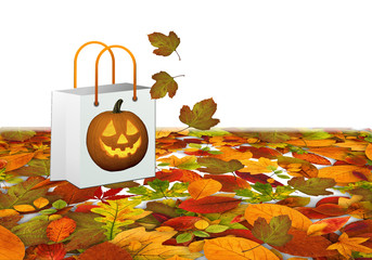 Halloween, bolsa de compras, hojas, otoño
