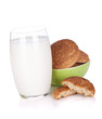 Glass of milk and cookies bowl