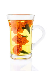 Marigold Tea in the Transparent Glass Cup