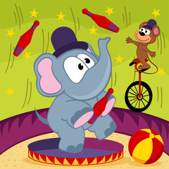 elephant and mouse circus - vector illustration, eps