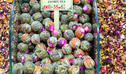 Different sorts of tea on the Egyptian bazaar in Istanbul