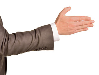 Caucasian male hand in a business suit