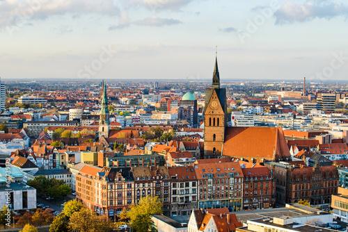 Leinwanddruck Bild Marktkirche und Zentrum von Hannover, Deutschland