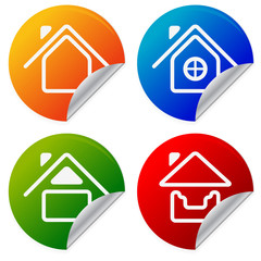 House Icons on colorful sticker. Home, summer house on peeling s