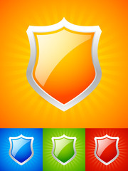 Modern medieval element, glossy shield, armor background