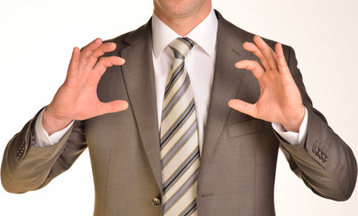 Businessman hands to hold gadget