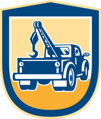 Tow Truck Wrecker Rear Shield Retro