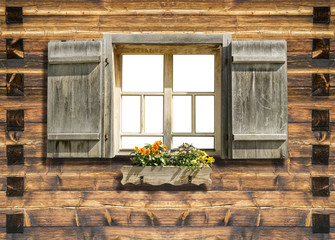 mountain hut window isolated