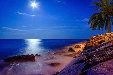 Mondschein über dem Meer an einer Felsküste