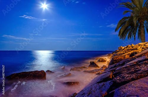 Mondschein über dem Meer an einer Felsküste - 68740567