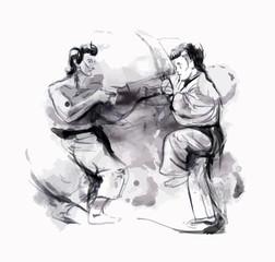 Karate - Hand drawn (calligraphic) vector