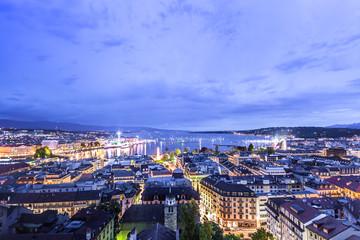 Panoramic night view of the city of Geneva, Lake Geneva