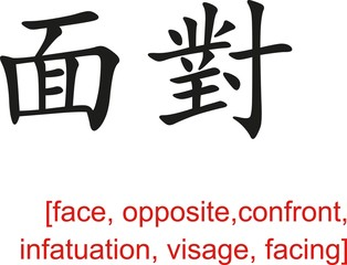 Chinese Sign for face, opposite,confront, infatuation, visage