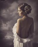 Woman sensual retro portrait, elegant  girl naked back