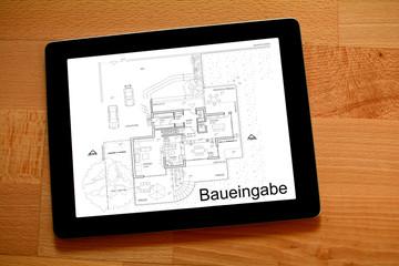 Baueingabe-Planung Grundriss Architekt auf Tablet PC