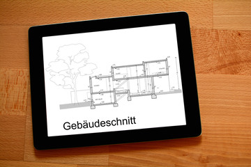 Entwurf Architekturplanung Wohnhaus mit Gebäude-Querschnitt