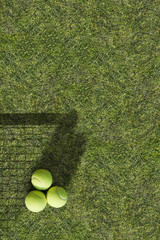 Three tennis balls are on the green grass near the net