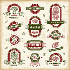 Vintage cherry labels set