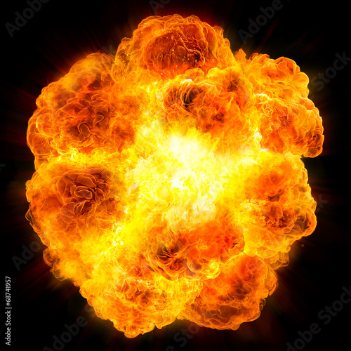 In de dag Vuur / Vlam fireball: explosion