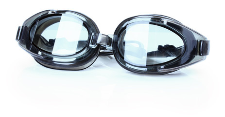 grey swimming glasses isolated on the white background