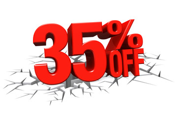 3D render red text 35 percent off on white crack hole floor.