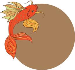 Стилизованная контурная рыбка на фоне восходящего солнца