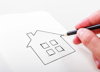hand drawning house
