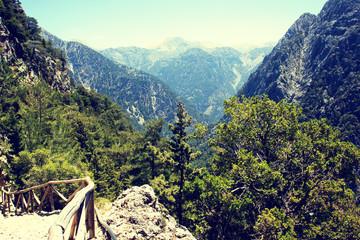 beautiful view of Samaria Gorge, Crete, Greece