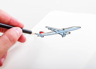 hand drawning airplane