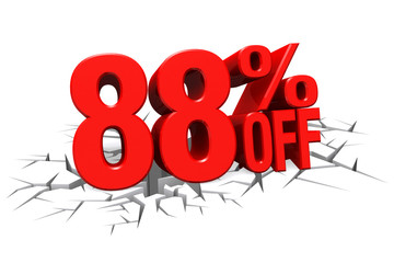 3D render red text 88 percent off on white crack hole floor.