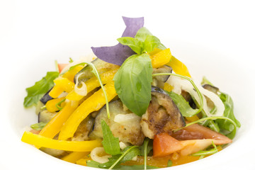 vegetable salad on a plate in a restaurant