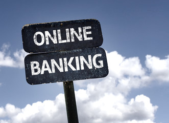 Online Banking sign with clouds and sky background