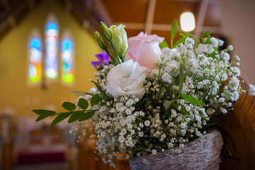 Wedding flowers in Church. Close up