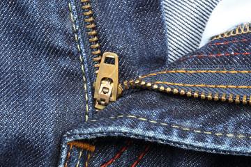 Close up of jeans zipper