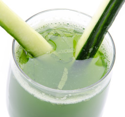 Glass of cucumber juise close up