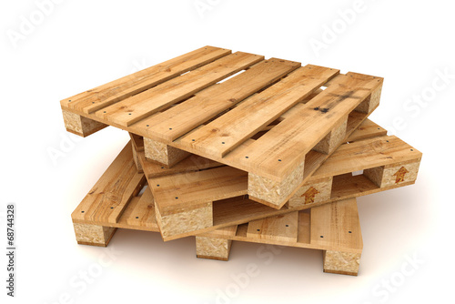 Stack of wooden pallets. - 68744328