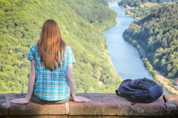 Hiker at the River Saar in Germany