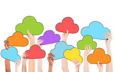 Group of Hands Holding Cloud Symbols
