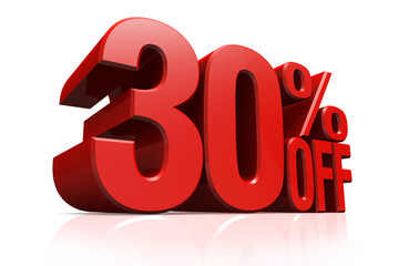 3D render red text 30 percent off.