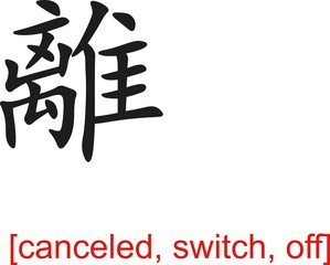Chinese Sign for canceled, switch, off
